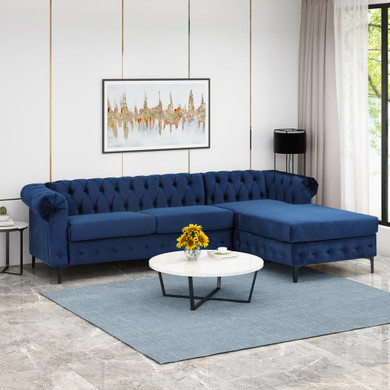 Contemporary Velvet 3 Seater Sectional Sofa with Chaise Lounge