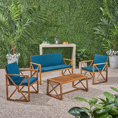 Outdoor Acacia Wood 4 Piece Chat Set with Cushions