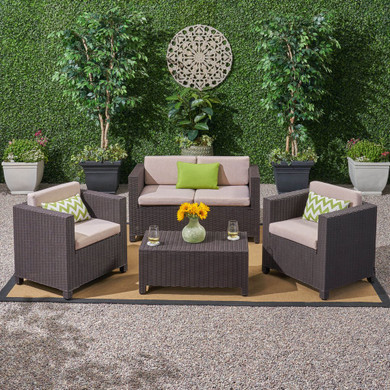 Outdoor All Weather Faux Wicker 4 Seater Chat Set with Cushions