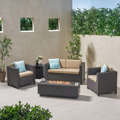 4-Seater Outdoor Fire Pit Sofa Set
