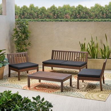 Outdoor Acacia Wood Chat Set with Coffee Table