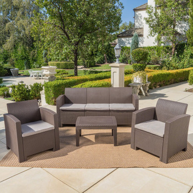 Outdoor 4 Piece Charcoal Faux Wicker Rattan Style Chat Set