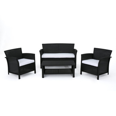 Outdoor 4 Piece Black Wicker Chat Set with White Water Resistant Cushions