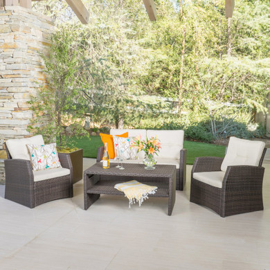 Outdoor 4 Piece Dark Brown Wicker Chat Set with Beige Water Resistant Cushions