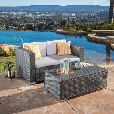 Multi-Grey PE 2pc Outdoor Sofa and Coffee Table Set