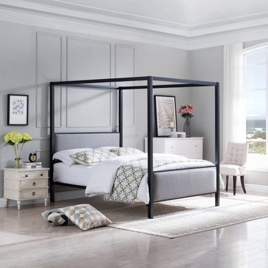 Traditional Fabric Canopy Queen Bed with Iron Frame