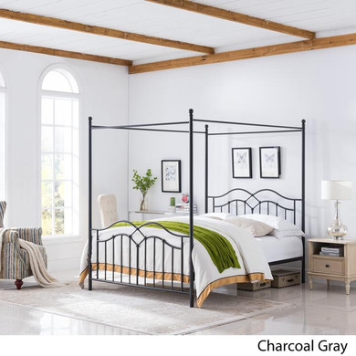 Traditional Iron Canopy Queen Bed Frame