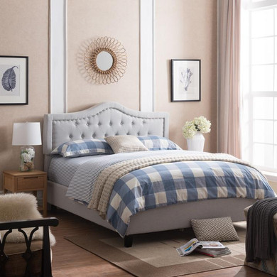 Upholstered Queen Bed Set with Nailhead Trim