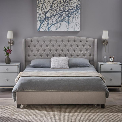 Twilight Fully Upholstered Fabric Queen Bed Set