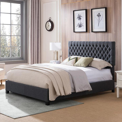 Fully Upholstered Fabric Queen Bed