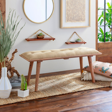 Faux Leather Upholstered Bench