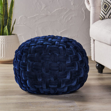 Handcrafted Cable Weave Velvet Round Pouf