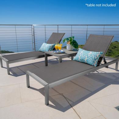 Outdoor Grey Aluminum Chaise