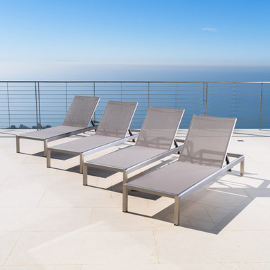 Outdoor Gray Mesh Chaise Lounge