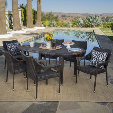 7 Piece Multi-brown Wicker Oval Dining Set