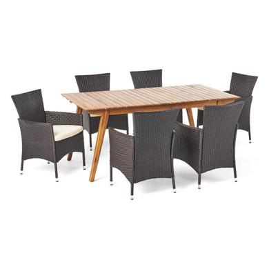 7 Piece Teak Finished Acacia Wood Rectangular Dining Set