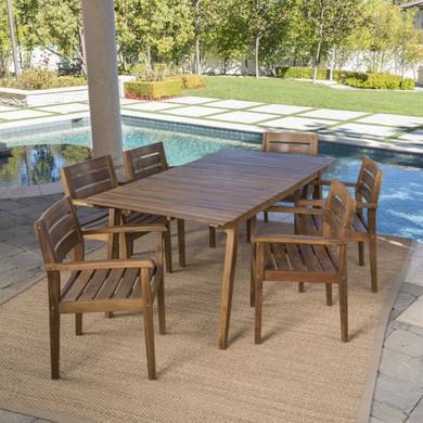 Outdoor 7 Piece Teak Finished Acacia Wood Dining Set