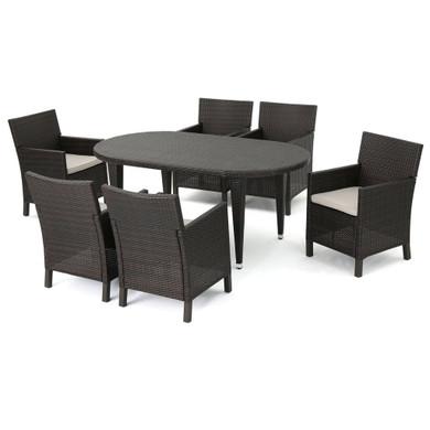 Crete Outdoor 7 Piece Wicker Oval Dining Set