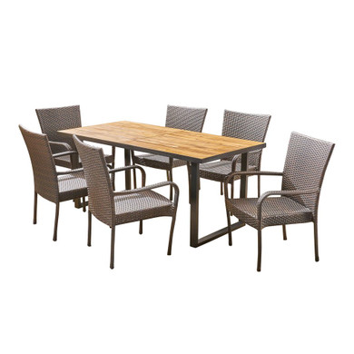 Outdoor 6-Seater Rectangular Acacia Wood and Wicker Dining Set