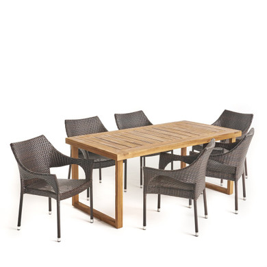 7 Piece Acacia Wood Dining Set with Stacking Wicker Chairs