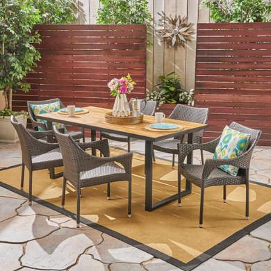 6-Seater Rectangular Acacia Wood and Wicker Dining Set