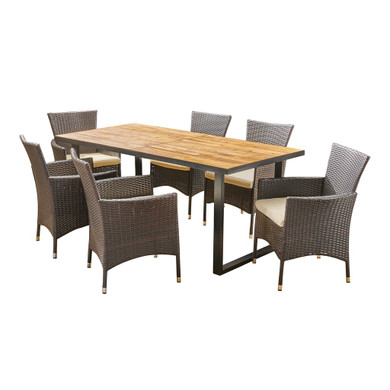 Outdoor 6-Seater Acacia Wood and Wicker Dining Set
