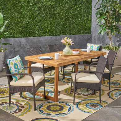 Camryn Outdoor 6-Seater Acacia Wood Dining Set