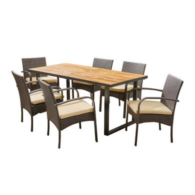 6-Seater Rectangular Acacia Wood Dining Set
