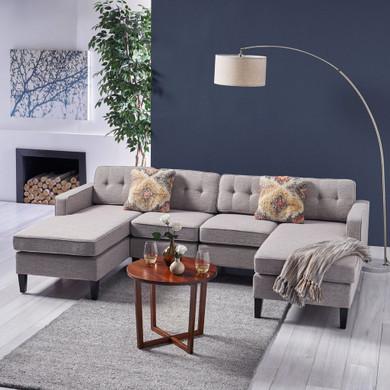 Modern Fabric Chaise Sectional Sofa