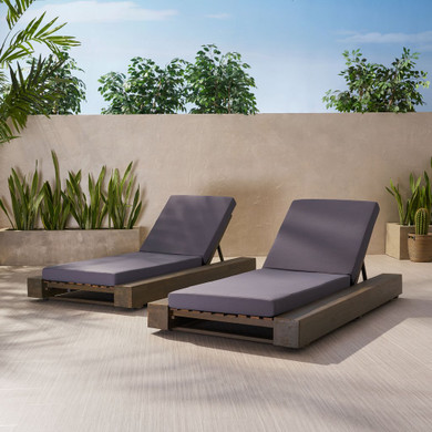 Acacia Wood Chaise Lounge and Cushion Sets (Set of 2)