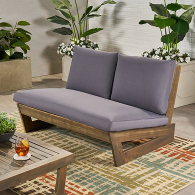 Outdoor Acacia Wood Loveseat with Cushions