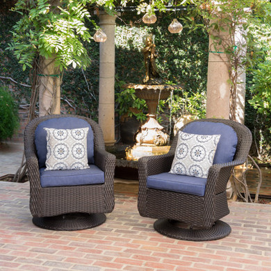 Outdoor Wicker Swivel Club Chairs