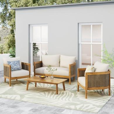 Outdoor Acacia Wood 4 Seater Set