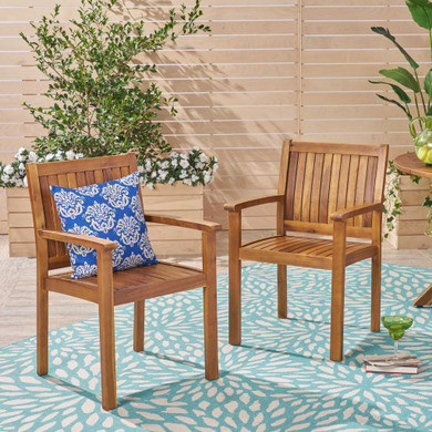 Outdoor Acacia Wood Dining Chairs (Set of 2)