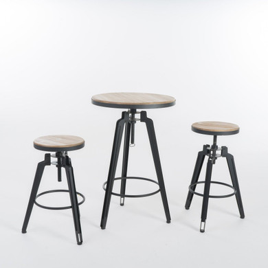 Antique Finish Adjustable Bar Table Set