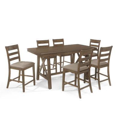 Farmhouse Wood Counter Height 7 Piece Dining Set