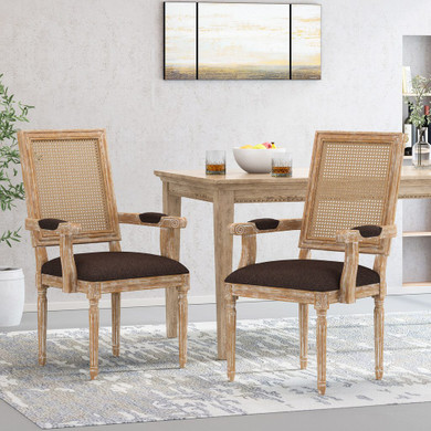 Wood and Cane Upholstered Dining Chair