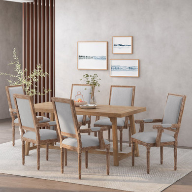 French Country Wood Upholstered Dining Chair