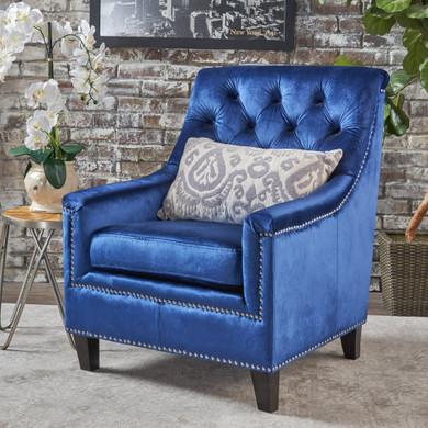 Button Tufted Fabric Club Chair