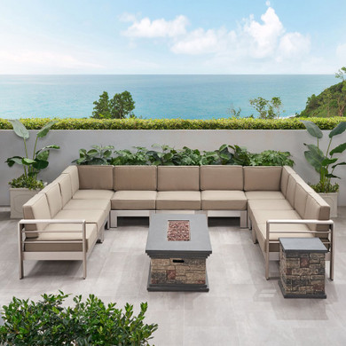 11 Seater Aluminum Sofa and Fire Pit Set