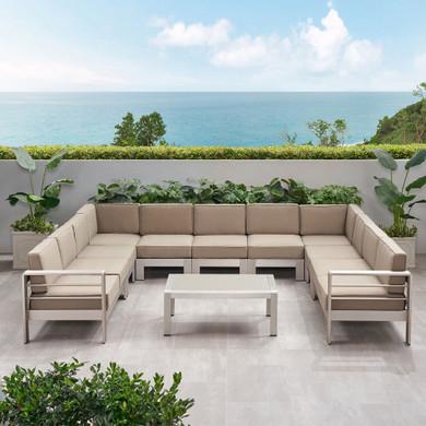 11 Seater Aluminum U-Shaped Sofa Sectional and Table Set