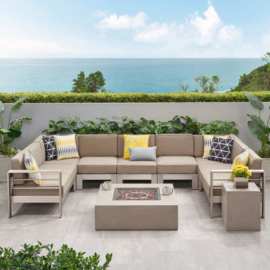 Outdoor 9 Seater Aluminum U-Shaped Sofa Sectional and Fire Pit Set