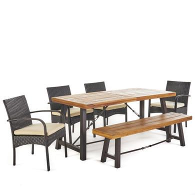 Outdoor 6 Piece Teak Finished Acacia Wood Dining Set