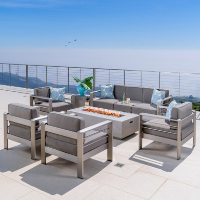 Outdoor Aluminum 7 Seater Chat Set with Fire Pit