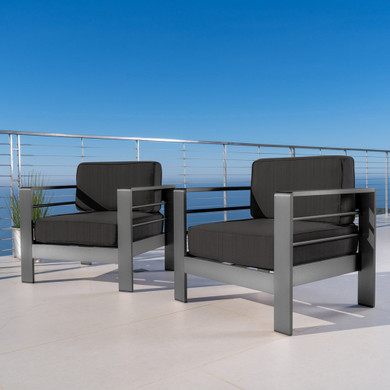 Outdoor Gray Aluminum Club Chairs