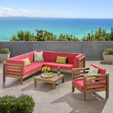 Outdoor 6 Seater Acacia Wood Sofa and Club Chair Set