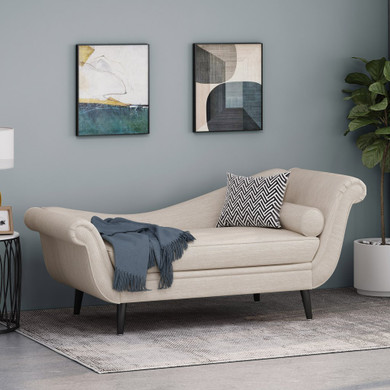 Modern Chaise Lounge with Scroll Arms