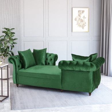 Tufted Velvet Chaise with Accent Pillows