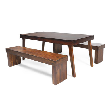 3pc Mahogany Stained Wood Dining Set