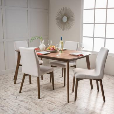Light Beige Rectangular 5 Piece Dining Set